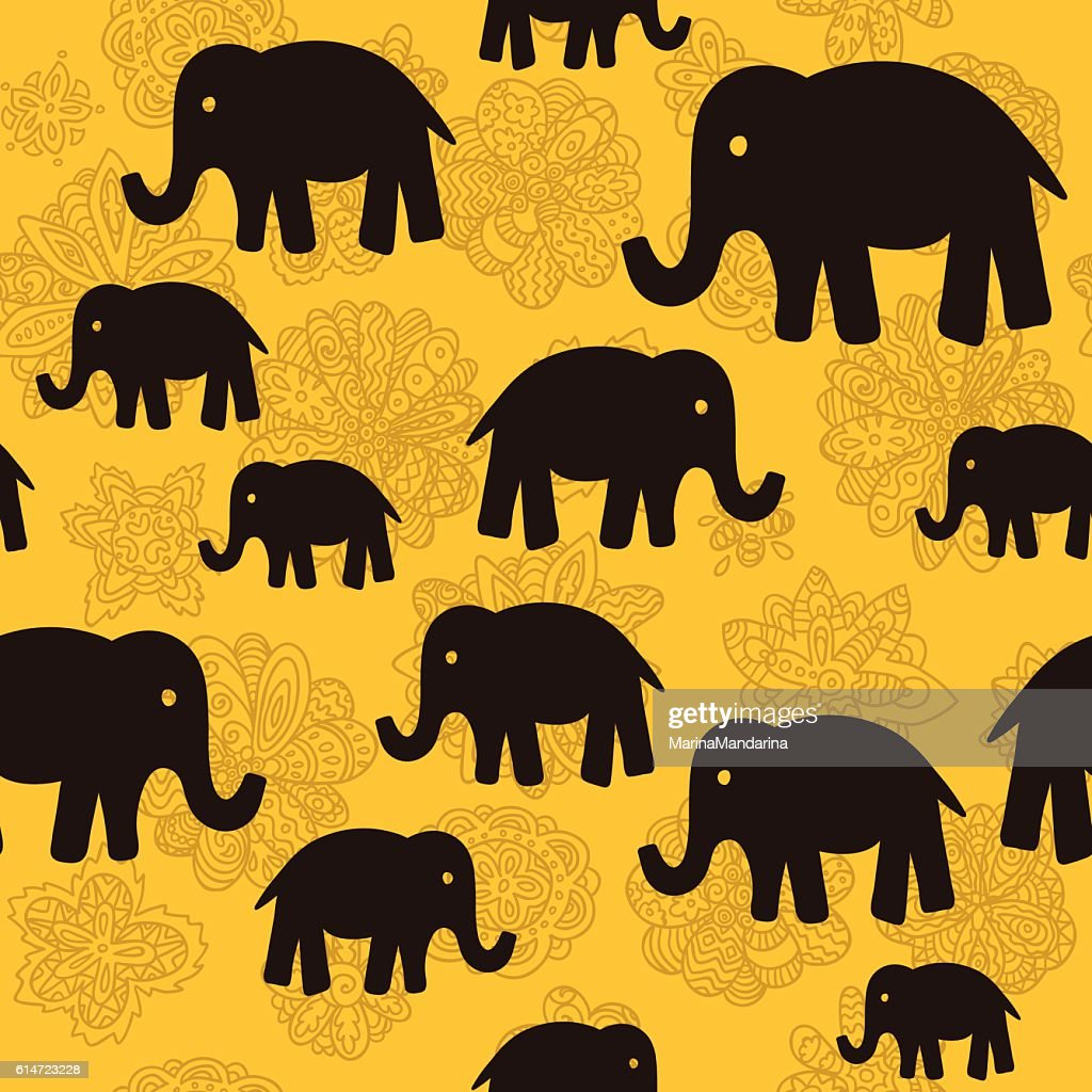 Vector floral and elephants seamless wallpaper background patter