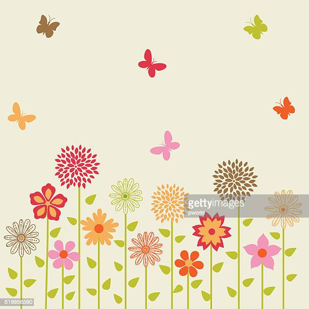 ilustrações, clipart, desenhos animados e ícones de vetor fundo floral. - lepidóptero