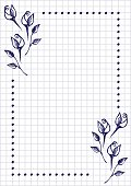 Vector floral blank for letter or greeting card. Checkered paper, white squared form with hand drawn roses and leaves. Imitation of inc drawing.A4 format size. Series of Cards, Blanks and Forms.