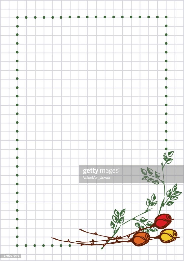 Vector floral blank for letter or greeting card. Checkered paper, white squared form with hand drawn roses, leaves. Imitation of inc drawing.A4 format size. Series of Cards, Blanks and Forms.