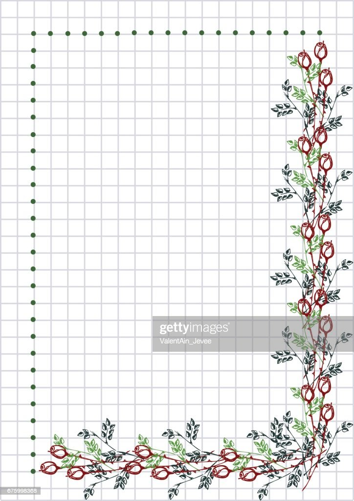 Vector floral blank for letter or greeting card checkered paper vector floral blank for letter or greeting card checkered paper white squared form with m4hsunfo