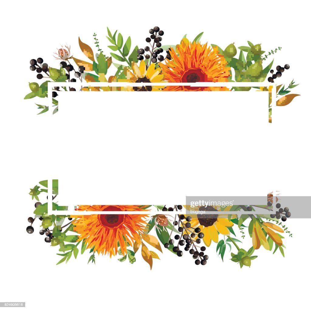 Vector floral design horizontal card design gerbera orange daisy gerbera orange daisy flower garden sunflower green fern seasonal berry branches leaves mix greeting invitation wedding autumn frame border with copy space izmirmasajfo