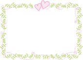 vector floral frame border with hearts