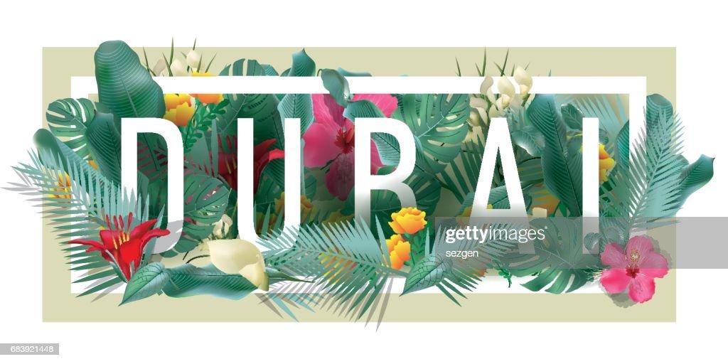 vector floral framed typographic DUBAI city artwork