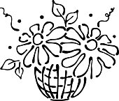 Vector floral illustration. Basket with flowers, leaves, decorative elements isolated on the white background. Hand drawn contour lines and strokes. Doodle style, graphic vector illustration