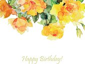 Vector floral illustration with yellow roses and frame for text.