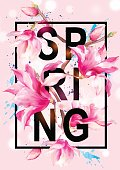 Vector Floral Magnolia Spring Greeting Card