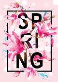 Vector Floral Magnolia Spring Greeting Card