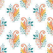 Vector floral pattern in decorative style. Hand drawn groups of branches, berries and leaves on white background, seamless illustration.