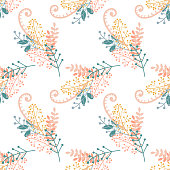 Vector floral pattern in pastel colors. Hand drawn groups of branches, berries and leaves on white background, seamless illustration.