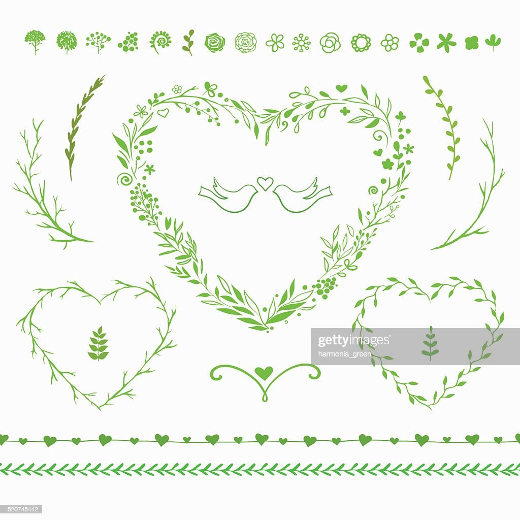 vector floral set for spring decorations