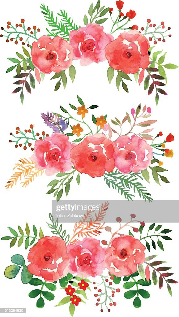 Vector floral set with watercolor flowers.