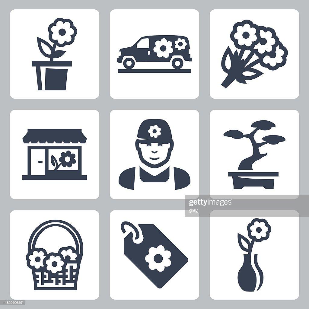 Vector floral shop icons set
