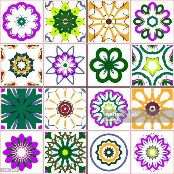ilustraciones, imágenes clip art, dibujos animados e iconos de stock de vector floral azulejo patrón - patchwork