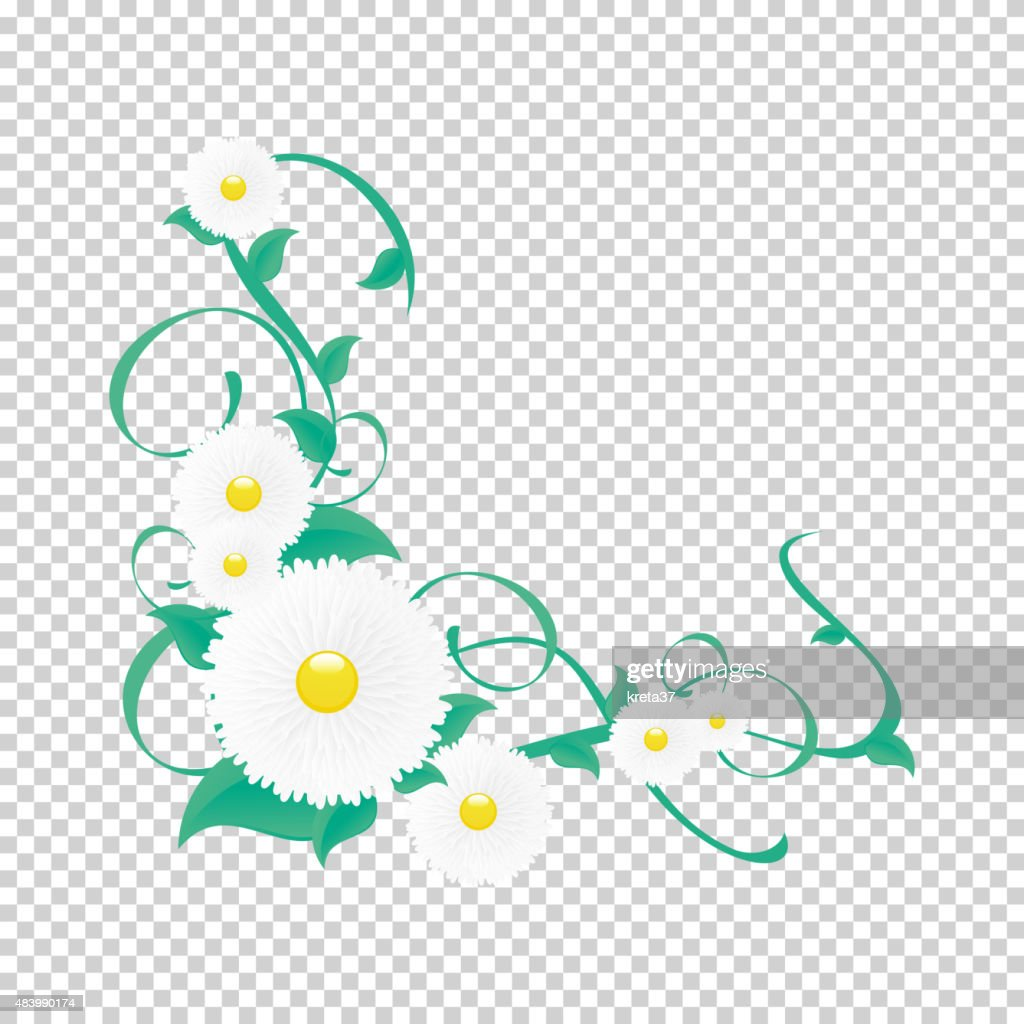 Vector floral vine, Vignette of flowers and greenery.