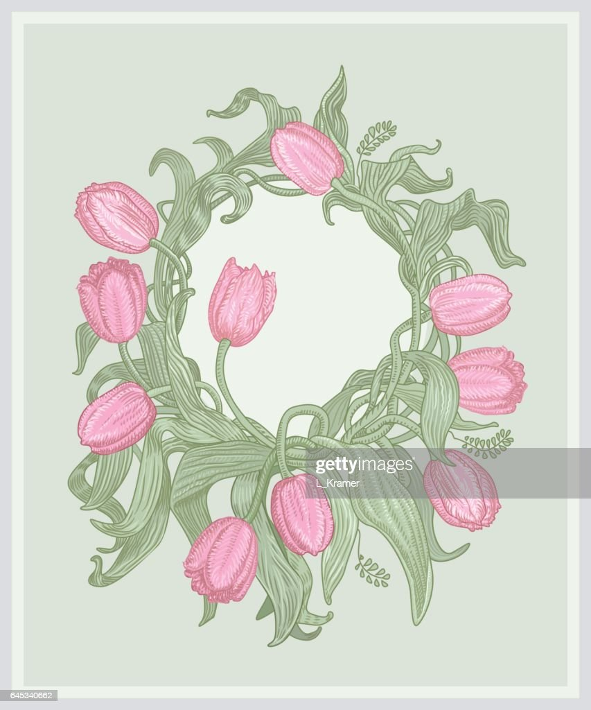 Vector floral wreath composition with pink tulips and green parrot vector floral wreath composition with pink tulips and green parrot on light blue grey background stopboris Gallery