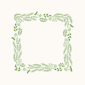 Vector flourish frame with herbs and leaves.