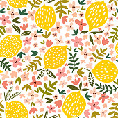 Vector flower and lemon seamless pattern