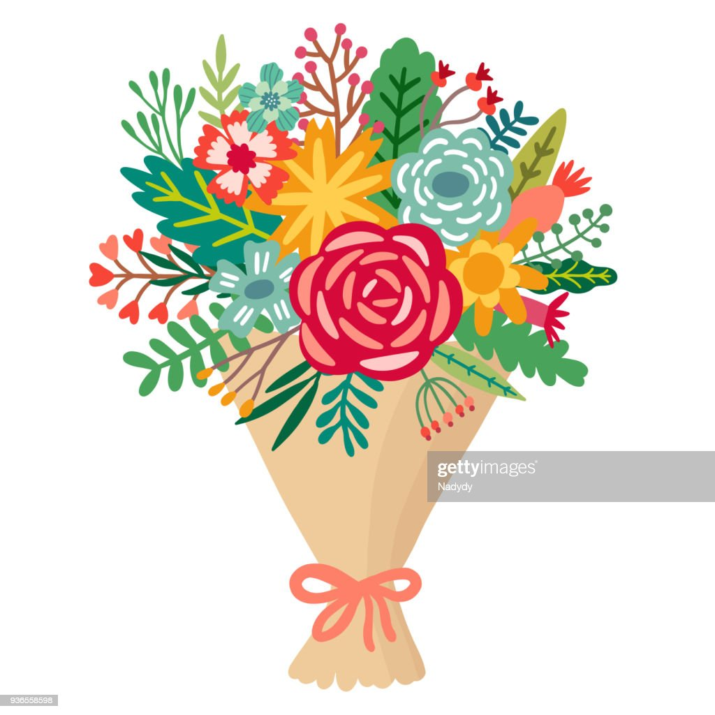 Vector flower bouquet. Floral bunch illustration