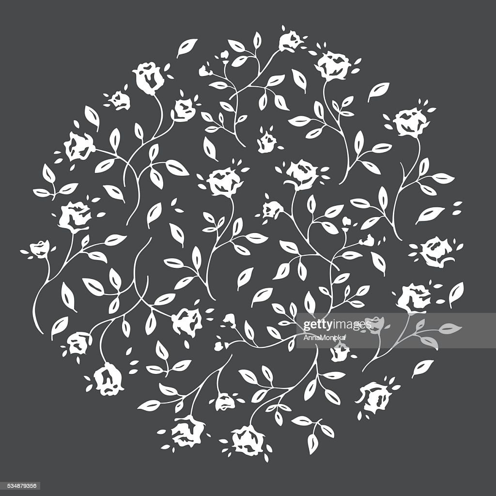 Vector flowers rose, background in circle.