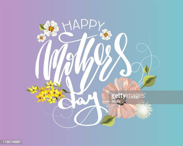 "vector flowers with lettering ""happy mother's day"" for print design of flyers, banners, cover, postcard - mothers day text art stock illustrations"