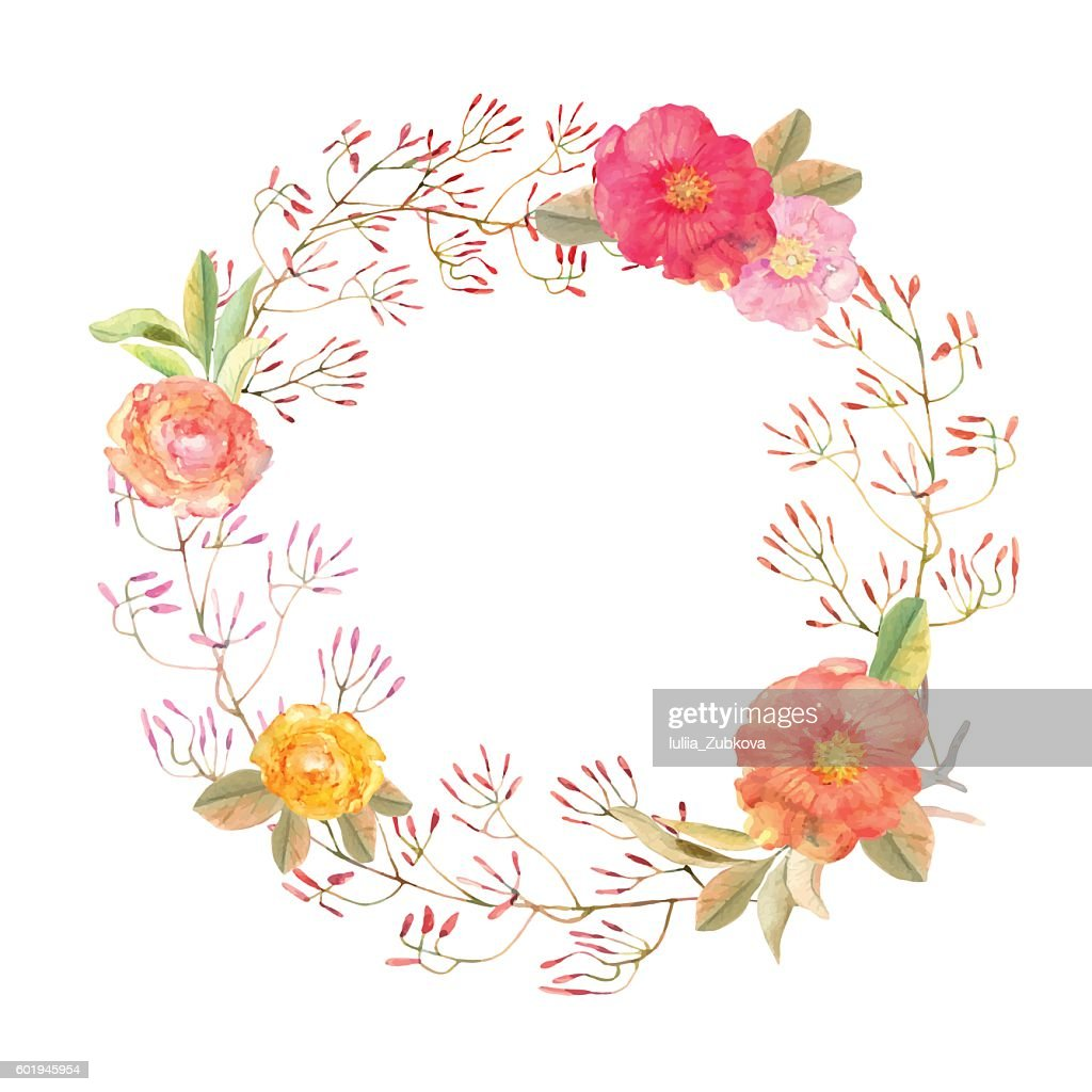 Vector flowers wreath . Elegant floral collection with isolated