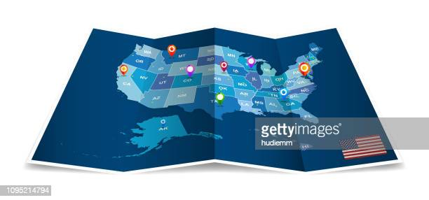 vector folded american map with administrative district isolated - cartography stock illustrations