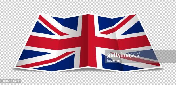 Vector Folded British flag background isolated