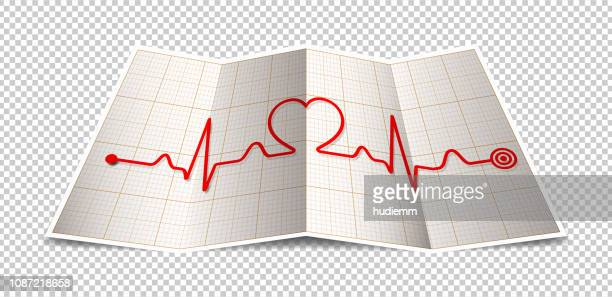 Vector folded paper with electrocardiogram and heart shape isolated