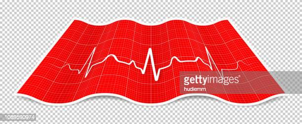 Vector folded paper with electrocardiogram isolated