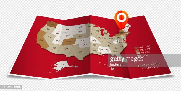 vector folded paper with usa map isolated (2019-ncov) - business travel stock illustrations