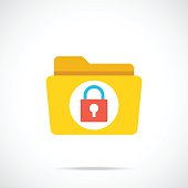 Vector folder and lock icon. Modern flat design vector illustration