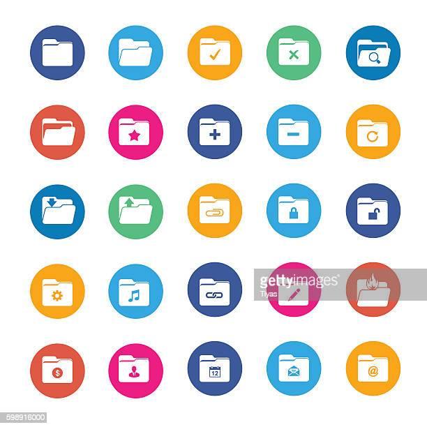 vector folder icon set - desk organizer stock illustrations, clip art, cartoons, & icons