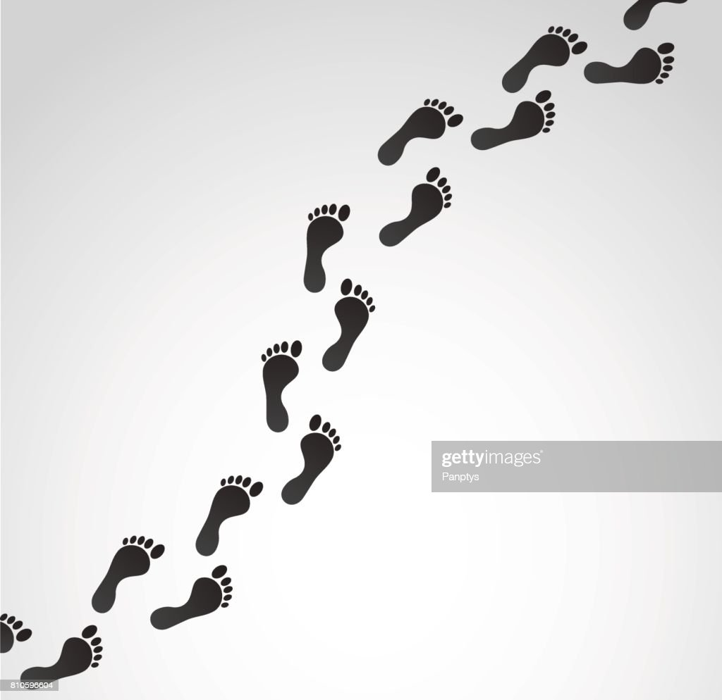 Vector footprints on white background.