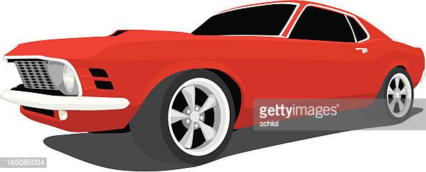 vector ford mustang - 1970 - vehicle hood stock illustrations, clip art, cartoons, & icons