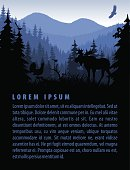 vector forest background design template with mountains and animals