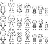Vector format illustration of cute and diverse stick people