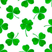 Vector four-leaf clover seamless pattern background