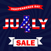 Vector Fourth of July sale banner. 4th of July background with sale text. EPS 10.