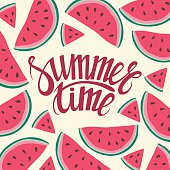 Vector frame background card Summer Time Seamless background with watermelon slices.