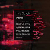 Vector frame for text with glitch effect.