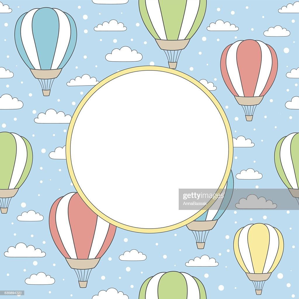 vector frame with air balloons, clouds and snow : Vektorgrafik