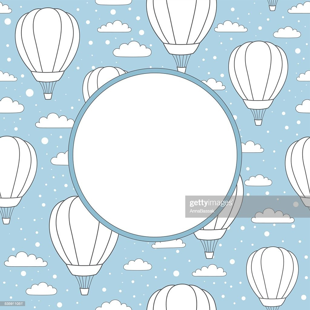 vector frame with air balloons, clouds and snow : Vector Art