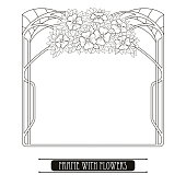 Vector frame with bouquet in Art Nouveau style isolated.