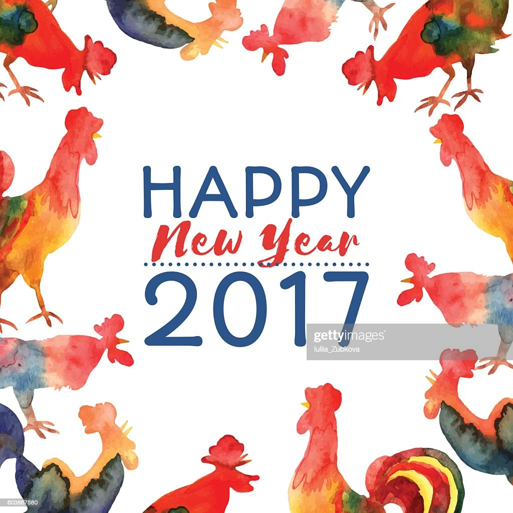 Vector frame with fire cocks and text Happy New Year