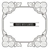 Vector frame with rose flowers in Art Nouveau style isolated.