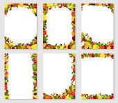 Vector frames set of exotic fresh fruits