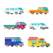 Vector freight trucks and minivans set in half isometric flat style
