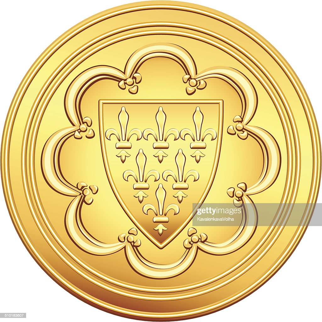 vector French money ecu gold coin
