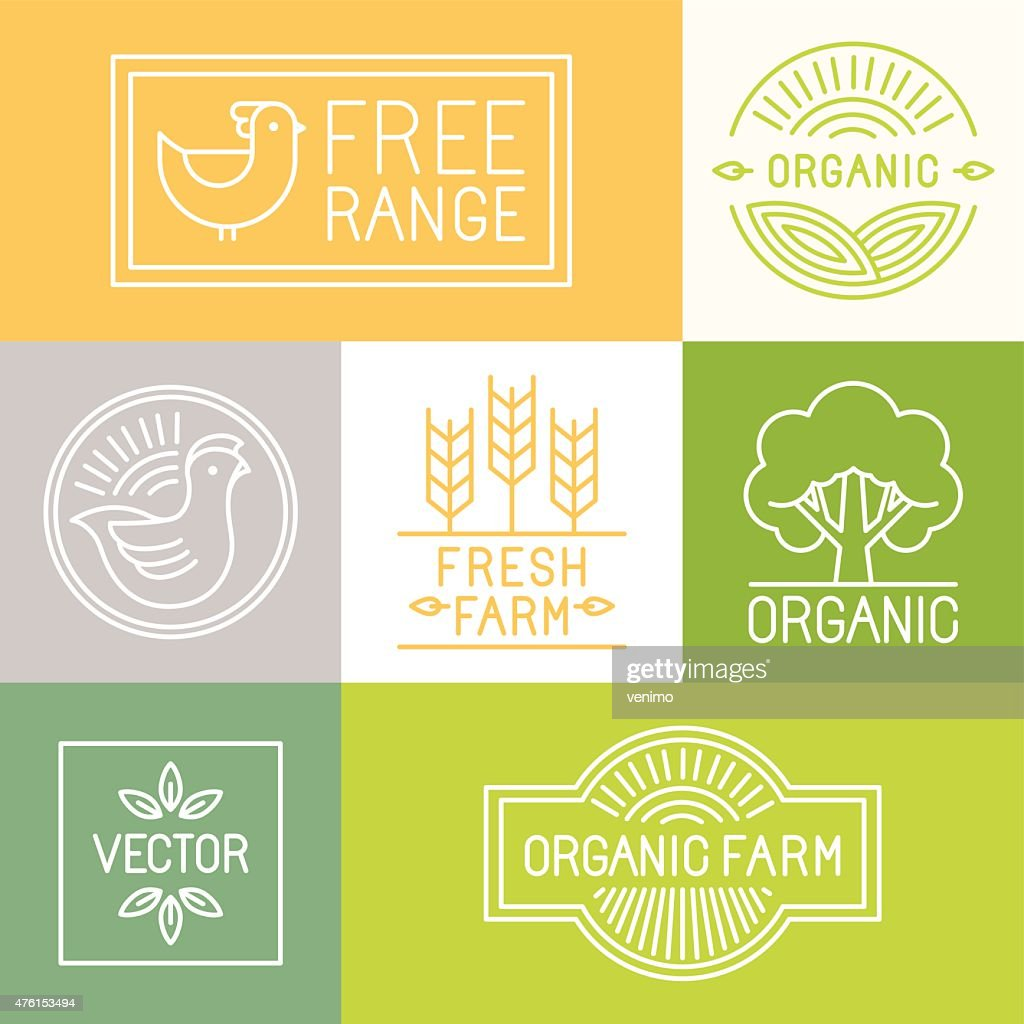 Vector fresh farm and free range labels
